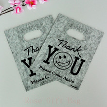 "100pcs 15x20cm ""Thank You"" Print Grey Plastic Gift Bag Favor Jewelry Boutique Gift Packaging Plastic Shopping Bags With Handle"
