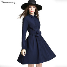 Buy Timmiury Sexy A-line Sexy Dress Knee-length Navy Blue Long Sleeves Office Dress 2017 New Vestidos Autumn Women Vintage Dress for $31.98 in AliExpress store