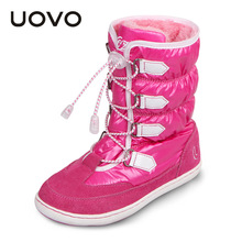 2017 mid-calf bungee lacing snow boots waterproof girls boots big girls sport shoes faux fur lining kids snow boots for girls