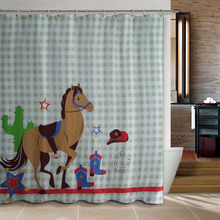 Cartoon pony Boutique Dacron shower curtain Eco-Friendly waterproof mildew shading bath curtain blue sea 180*180 cm(China)