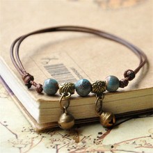 Fashion ethnic style high quality original ceramic bronze adjustable handmade porcelain beads rope anklets for women he027