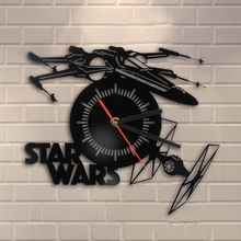 Free Shipping 1Piece X-wing Tie Fighter Decor 3D Wall Clock Hanging Time Clock Lase Cut Plexiglass Time Clock For Star Wars Fan