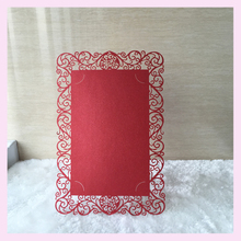 50pcs/lot for salelaser cut single pearl paper flower damask birthday paty rose wedding invitation cards best wish blessing card(China)
