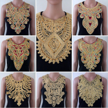 2piece Craft Gold collar Venise Sequin Floral Embroidered Applique Trim Decorated Lace Neckline Collar Sewing