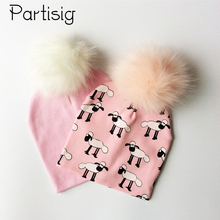 Brand Hat Faux Fur Baby Boy Cap Cotton Printing Pompom Bobble Hat For Girls Winter Children's Hats Caps(China)