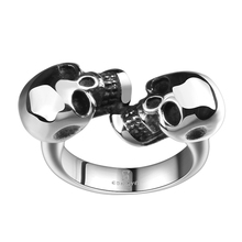 Vintage Gothic Biker Double Skull Head Stainless Steel Finger Rings Punk Rock Charm Fine Cuff Round Jewelry Friends Gifts Homme(China)