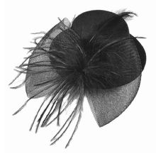 HTHL-Black Mesh Bowknot Feather Decor Mini Top Hat Alligator Hair Clip(China)
