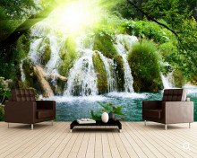 Custom natural scenery Textile Wallcoverings,waterfall,3D photo mural for living room restaurant sofa background wall wallpaper(China)