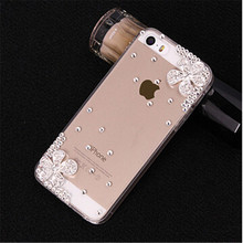 New 3D Flower bling Crystal diamond Cell Phone Shell back cover hard case For iphone SE iphone 5SE