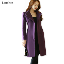 Lenshin Women Purple Polyester Vintage Trench Outerwear Thick Long Coat Windproof Jackets Fashion Style Winter Wear(China)