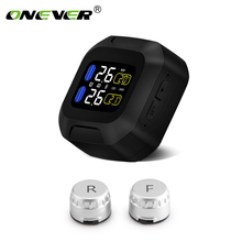 Onever Wireless Motorcycle TPMS Tire Pressure Monitoring System Motor Tyre Auto Alarm 2 External Sensor LCD Display Moto Tools(China)