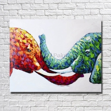 Free Shipping 100% Handmade High Quality Abstract Two Elephant  Oil Painting Pictures for Home Decor Nice Gifrs No Framed
