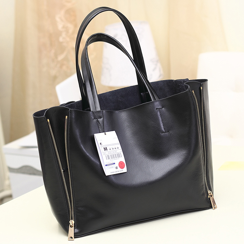 2017 High Quality Leather Double Zipper Shoulder Bag Simple Fashion Handbag Tote Casual Bags Handbags Women Famous Brand Bolsas<br><br>Aliexpress