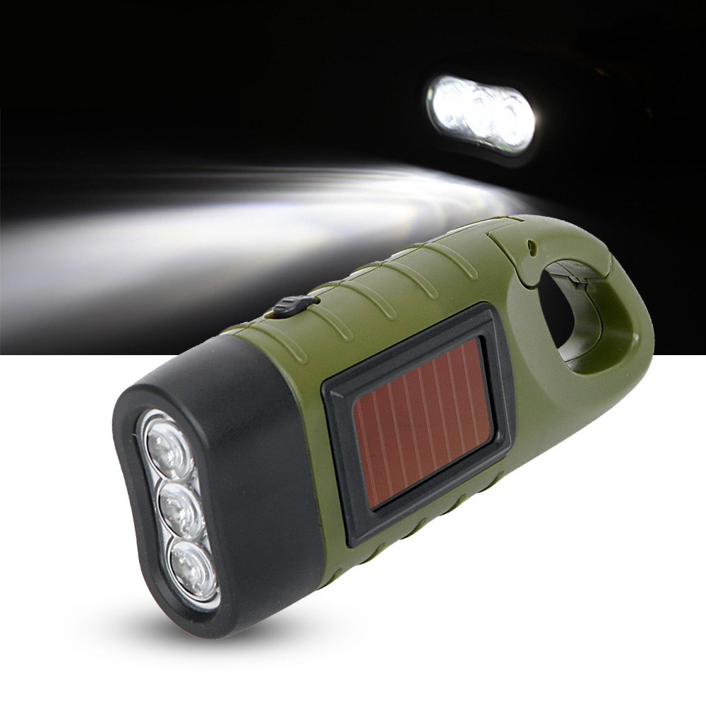Professional Portable LED Hand Crank Dynamo Solar Power Flashlight Torch for Outdoor Camping Mountaineering Traditional Design (10)