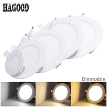 100pcs Dimmable LED Panel Light Recessed Celing Lamp Spot Lights Lamps LED Panel light 3W/4W/6W/9W/12W/15W/18W/24W(China)