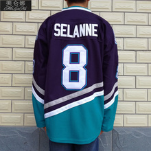 MeiLunNa Christmas Black Friday Mighty Ducks Movie Jerseys #8 Teemu Selanne Jersey 0801 Purple White Throwback Ice Hockey(China)