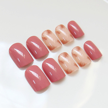 YuNail 24pcs Blooming Dyeing Pink Beige Fake Nails Short Medium Long Square Curved Solid Full with Glue Sticker for Ladies