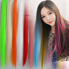 50CM Clip In Human Hair Extensions Synthetic Hair Color Clip One Piece Cosplay Decoration Hair Extension Wigs(China)