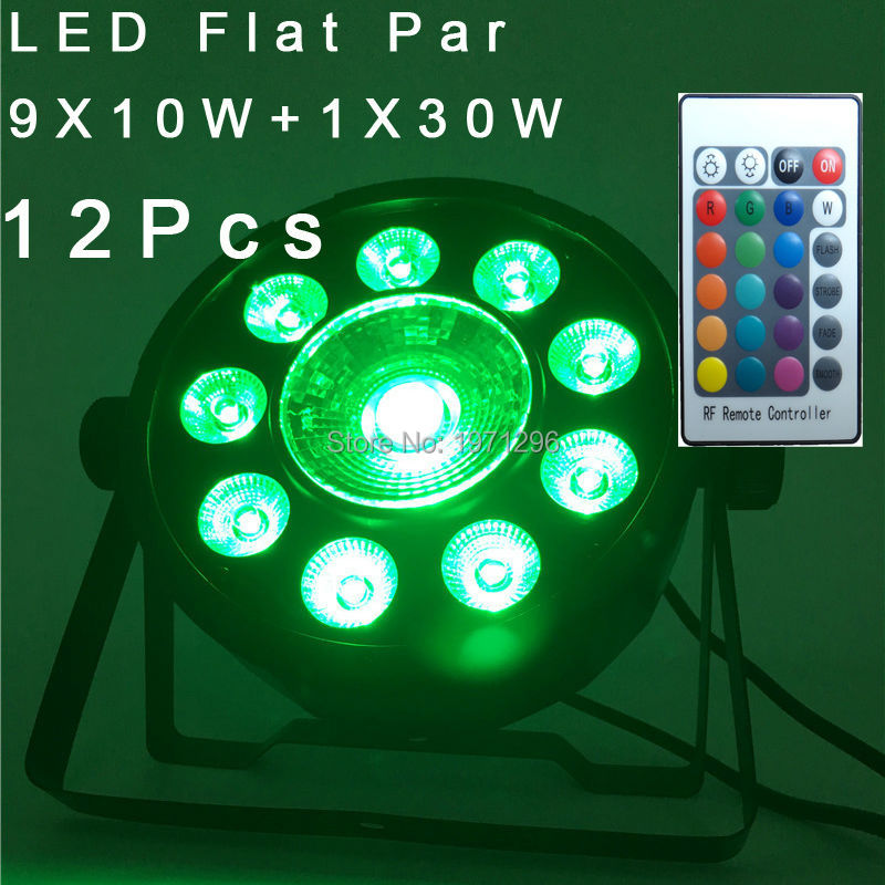 12 Pcs LED Fat Par 9X10W+1X30W Led Light RGB 3IN1 120W LED Stage Light DJ Light 7 DMX Led Par Party Disco DJ Light Fast Shipping<br>