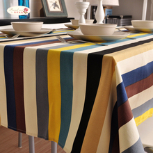 1 Piece European Pastoral Color Striped Tablecloth/ Cotton And Linen Tea Table Cloth/ Household Decorative Table Cloth