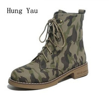 Buy Women Boots 2017 Spring Autumn Fashion Leather Ankle Boots Casual Flats Shoes Woman Outdoor Lace Camouflage Round Toe for $15.95 in AliExpress store