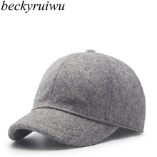 Beckyruiwu Autumn And Winter Men Good Quality Wool Baseball Caps Casua Short Peaked Cap Unisex Solid Color Felt Hat(China)