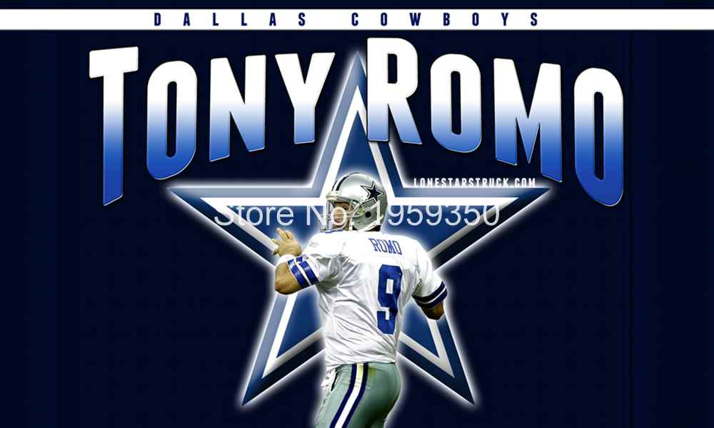 Dallas Cowboys Tony Romo Flying Flag Banner flag 3ft x 5ft 100D Polyester 90x150cm16668(China (Mainland))
