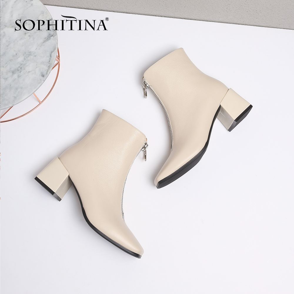SOPHITINA New Fashion Genuine Leather Square Heel Ladies Boots Casual Outside Square Toe Shoes Basic Med Heel Women Boots SO221