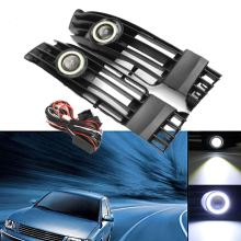 Front Bumper Convex Lens Grill LED Fog Light Angel Eyes Lamp DRL For  VW/Passat 2001-2005 Waterproof