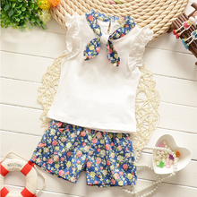 2016 Baby girls long-sleeved t-shirt + pants suit lace bow back pocket kitty cat dot girls cotton suit baby princess set