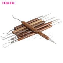 New 6Pcs Clay Sculpting Set Wax Carving Pottery Tools Shapers Polymer Modeling -Y122(China)