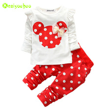 Children Clothing 2018 Spring Autumn Baby Girls Clothes Set Minnie T-shirt+Pants Outfits Kids Tracksuit For Girls Sport Suit(China)