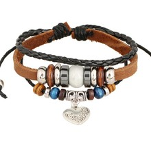 Leather Beads Bracelet Jewelry Men Trendy Fashion Cowhide Charm Bracelets Bangles Korea Accessories Bijoux Brown Color