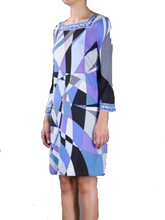 New 2015 Designer Brand Dress Women's 3/4 Sleeve Geometric Printed Color Block 3/4 Sleeves Jersey Silk Dress Casual Dress