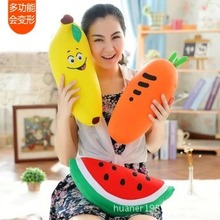 Multifunction watermelon fruit banana plush toys pillow neck pillow foam particles deform U birthday gift for men and women(China)