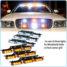 Dragging Six 54 LED Emergency Vehicle Strobe Lights/Lightbars Deck Dash Grille -Amber & White 3 Flashing Modes Warning Net light