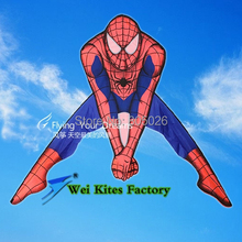 free shipping high quality spiderman kite with handle line outdoor toys flying kites nylon ripstop fabric kitesurf child reel(China)