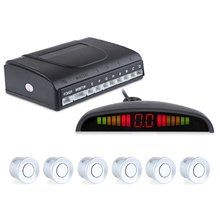 Car Auto Radar System Reverse Backup LED Display Buzzing Sound Warning 6 Parking Sensors Anti-freeze And Rain Proof