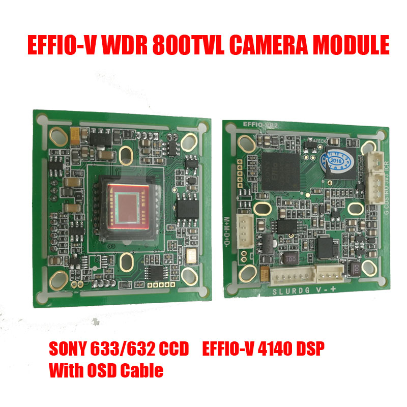 DIY 800TVL Sony 663 WDR CCD+Effio-V DSP Analog CCTV PCB Board Camera Module OSD Control Cable HLC Motion Detection Free Shipping<br>