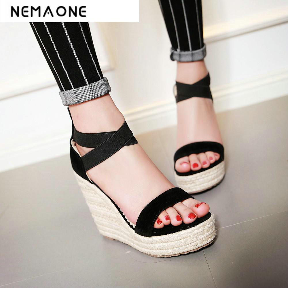 New Summer style comfortable Bohemian Wedges Women sandals for Lady shoes high platform open toe cross strap sandals<br>