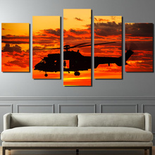 HD Printed 5 piece canvas art paintings helicopter sunset sundown room decor canvas wall art posters and prints ny-6202(China)