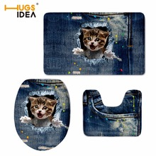HUGSIDEA Hot Sale Jeans Design Home Decor Cute 3D Denim Animal Cat Print 3PCS Set Bathroom Non-slip Floor Carpets WC Toilet Mats