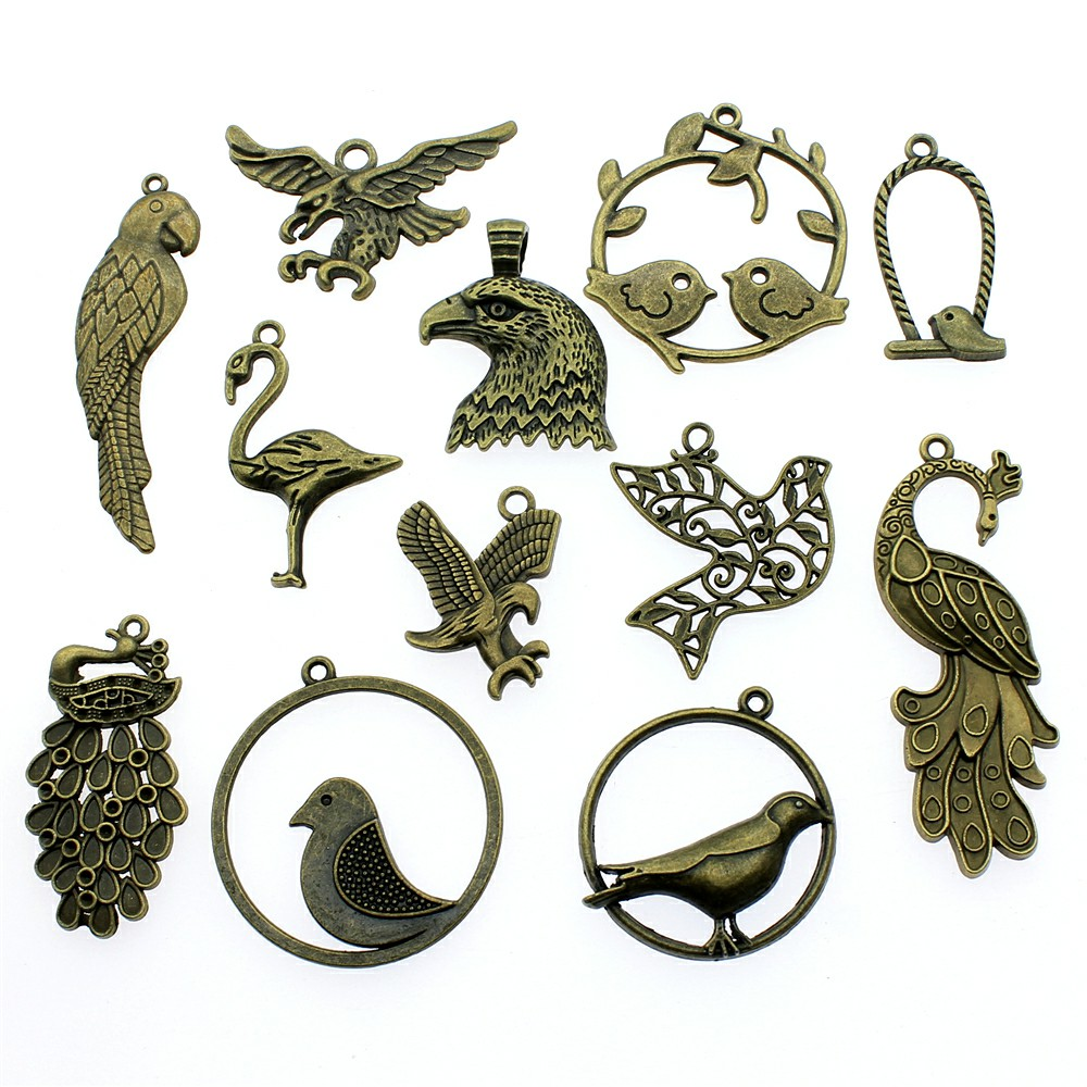 20pcs Vintage Silver Alloy Peacock Tray Base Pendant Charm Jewelry Accessories
