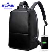 BOPAI Anti Theft Notebook Backpack External USB Port Men Leather Travel Backpack Waterproof Laptop Backpack School Bag mochila