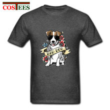 Charming Floral pattern Jack Russell T shirts men terrier badass tattoo tshirt cute pet bad dog T-shirt cool man dog lovers Tees(China)