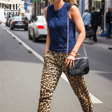 Shelikeit Sexy Women Loose Leopard Pants Female Full Length Pant Lady Causal Pants Long Pants for Woman