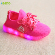Hot sale Children Girls LED Luminous Sneakers Kids Sports Shoes Girl PU Casual Boots for Spring Autumn Rubber Button EUR 21-36