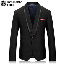 Men Black Blazer Jacket Slim Fit Style Fashion Brand Stage Clothing Shawl Collar Mens Casual Prom Blazers DT039(China)