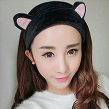 LNRRABC Women Girls Cat Ears Headscarf Flannel Elastic Headbands Hair For Women Hair Accessories Party Gift Headdress(China)