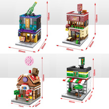 Hot city mini street view building block Ktv Pizza hut Candy shop house 7-11 24 hours Convenience Store brick model toys for kid
